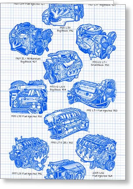 Corvette Power - Corvette Engines Blueprint Greeting Card