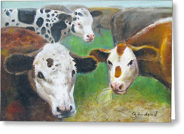 Greeting Card featuring the painting 3 Cows by Oz Freedgood