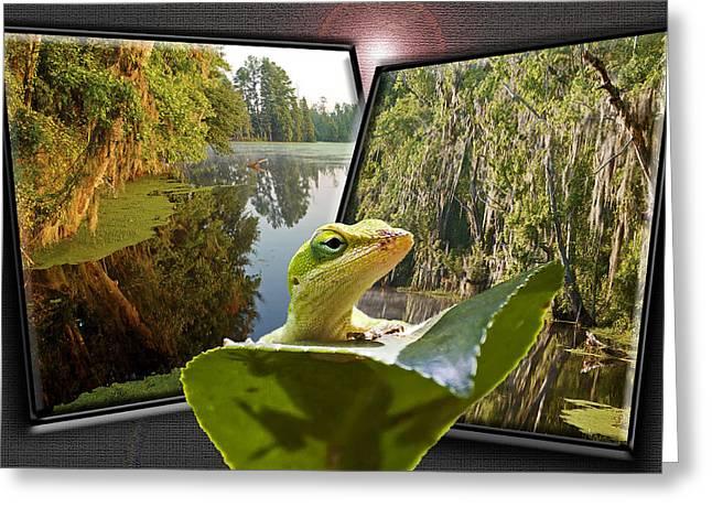 3-d Lizard Greeting Card by Michael Whitaker