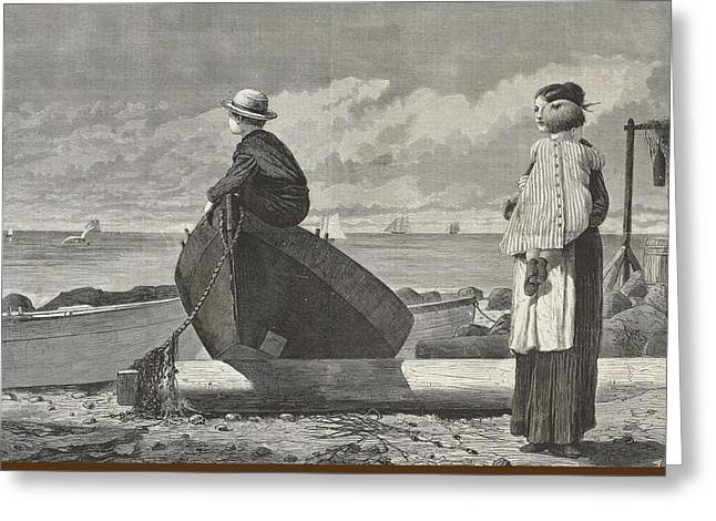 Dad's Coming Greeting Card by Winslow Homer