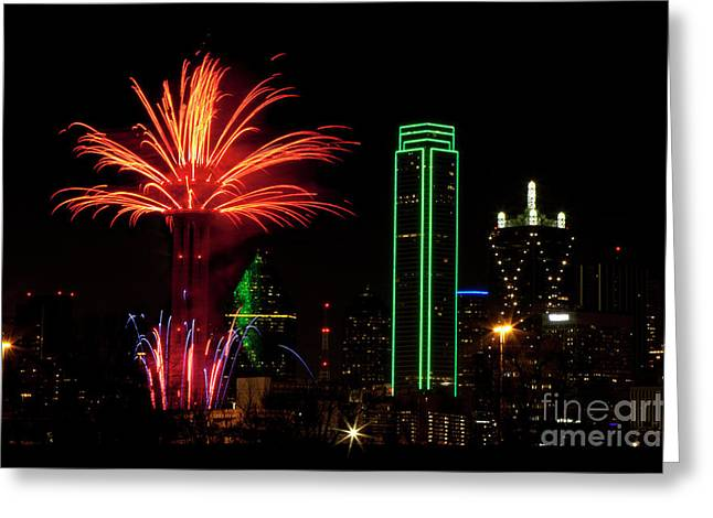 Dallas Texas - Fireworks Greeting Card by Anthony Totah