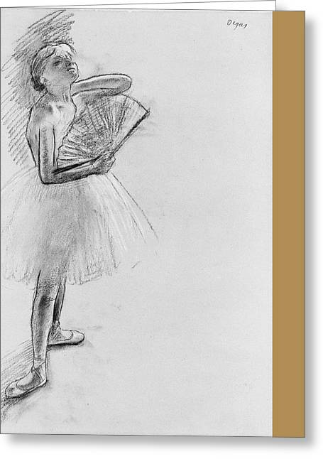 Dancer With A Fan Greeting Card by Edgar Degas