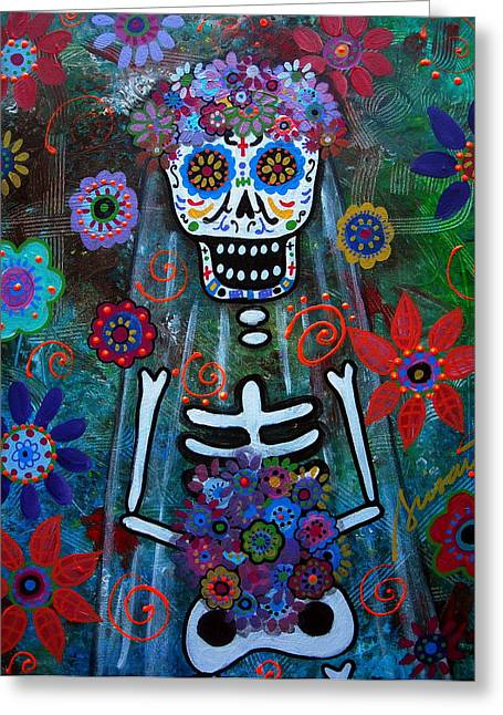 Day Of The Dead Bride Greeting Card by Pristine Cartera Turkus