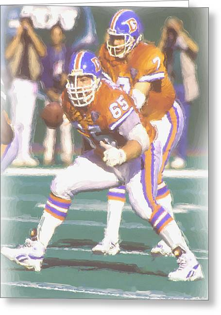 Denver Broncos John Elway Greeting Card by Joe Hamilton