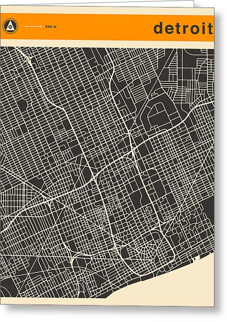 Detroit Map Greeting Card
