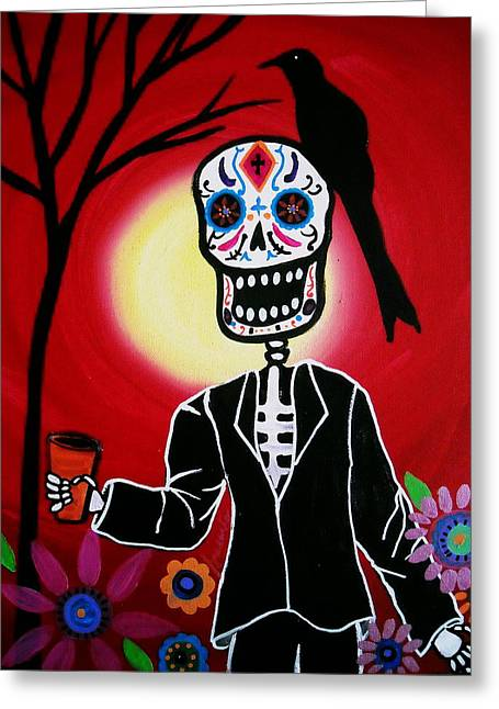 Dia De Los Muertos Greeting Card by Pristine Cartera Turkus