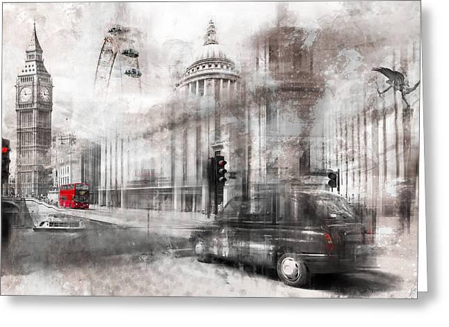 Digital-art London Composing Greeting Card by Melanie Viola
