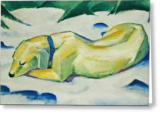 Dog Lying In The Snow Greeting Card by Franz Marc