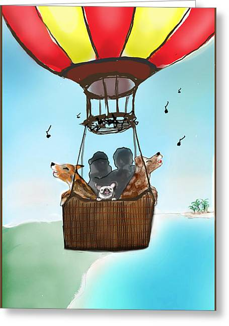3 Dogs Singing In A Hot Air Balloon Greeting Card