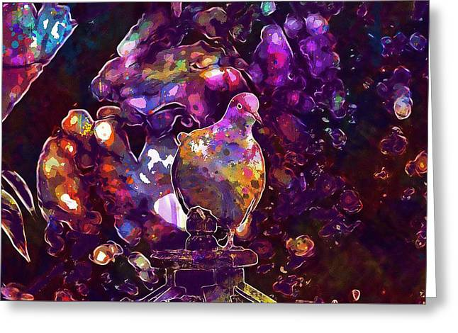 Greeting Card featuring the digital art Dove Bird Feather Animal Plumage  by PixBreak Art