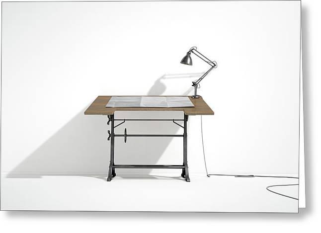 Drafting Desk Lamp And Paper Greeting Card