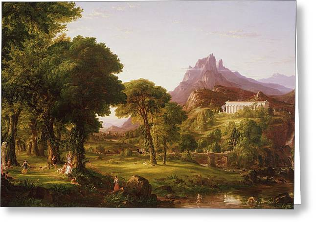 Dream Of Arcadia Greeting Card by Thomas Cole
