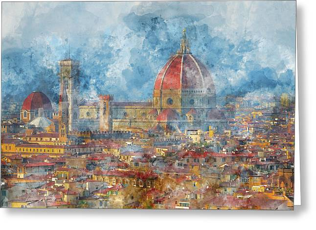 Duomo In Florence Italy Greeting Card by Brandon Bourdages