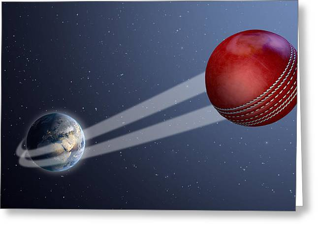 Earth With Ball Swoosh In Space Greeting Card by Allan Swart