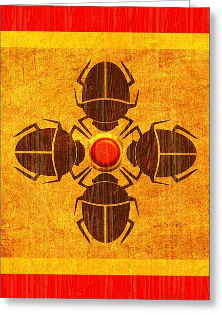 Greeting Card featuring the digital art Egyptian Scarab Beetle by John Wills