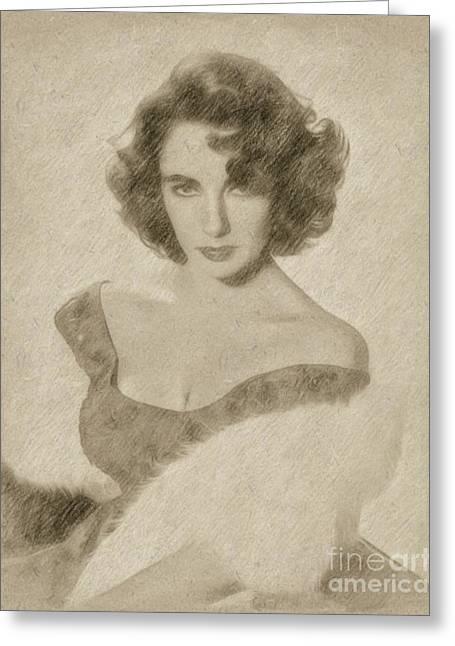 Elizabeth Taylor Hollywood Actress Greeting Card by Frank Falcon
