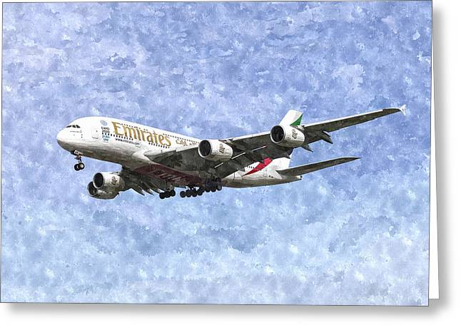 Emirates A380 Airbus Watercolour Greeting Card