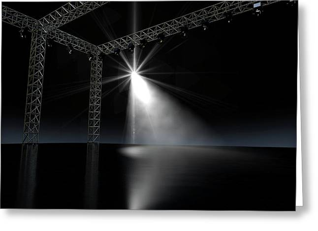 Empty Stage Spotlit Greeting Card by Allan Swart