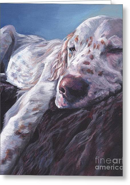 Greeting Card featuring the painting English Setter by Lee Ann Shepard