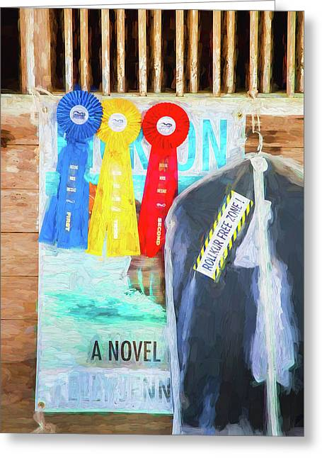 Equestrian Event Rocking Horse Stables Painted  Greeting Card