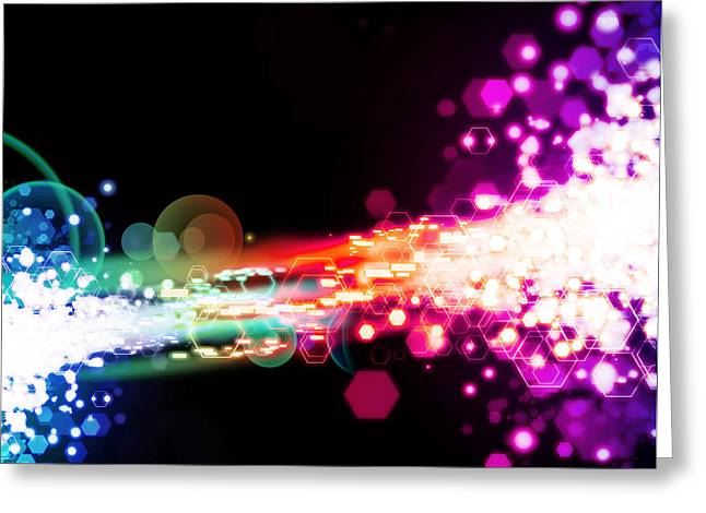 Abstract Movement Greeting Cards - Explosion Of Lights Greeting Card by Setsiri Silapasuwanchai