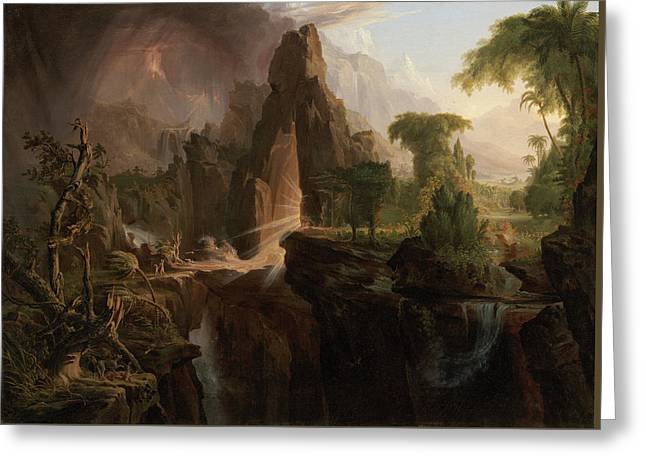 Expulsion From The Garden Of Eden Greeting Card by Thomas Cole