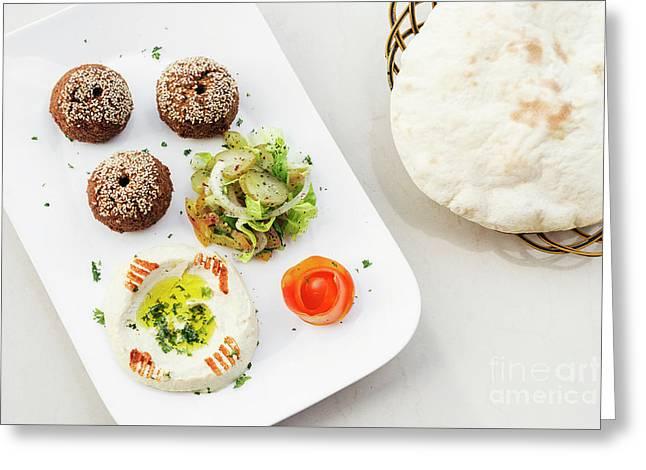 Falafel Hummus Houmus Starter Snack Food Mezze Platter Greeting Card