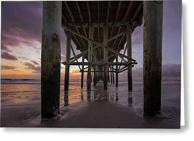 Greeting Card featuring the photograph Fernandina Beach Pier by Peter Lakomy