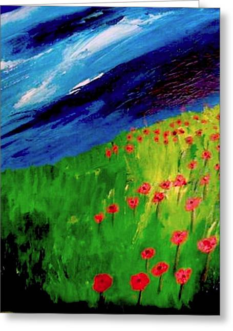 field of Poppies Greeting Card by Misty VanPool