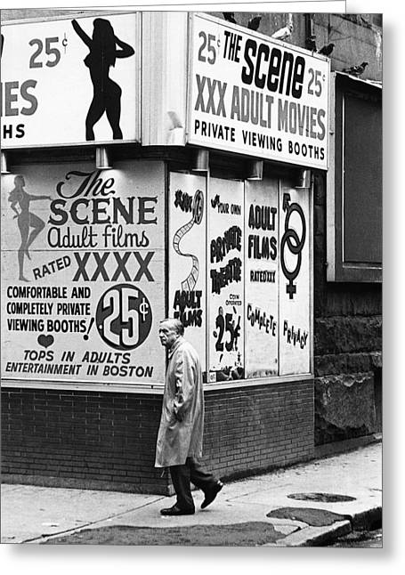 Film Homage Hard Core 1979 Porn Theater The Combat Zone Boston Massachusetts 1977 Greeting Card