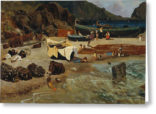 Fishing Boats At Capri Greeting Card by Albert Bierstadt