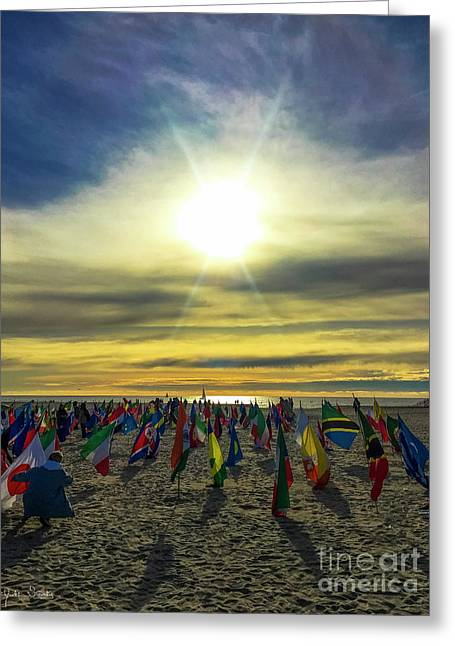 Flags At Venice Beach World Peace Drum Circle Greeting Card by Julian Starks