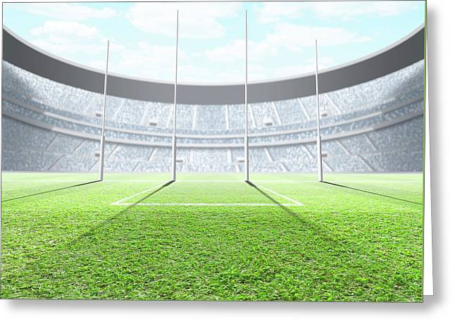 Floodlit Stadium Day Greeting Card by Allan Swart
