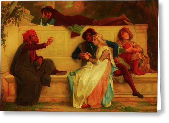 Greeting Card featuring the painting Florentine Poet by Alexandre Cabanel