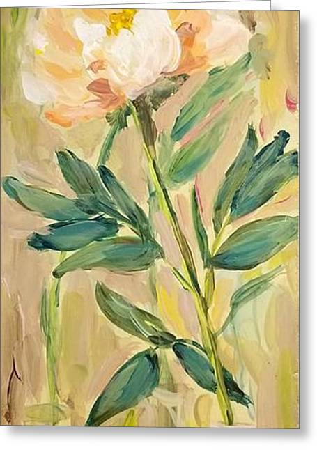 Greeting Card featuring the painting 3 Flowers by Maria Langgle