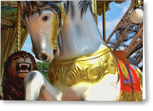 Flying Paris Horses  Greeting Card by JAMART Photography