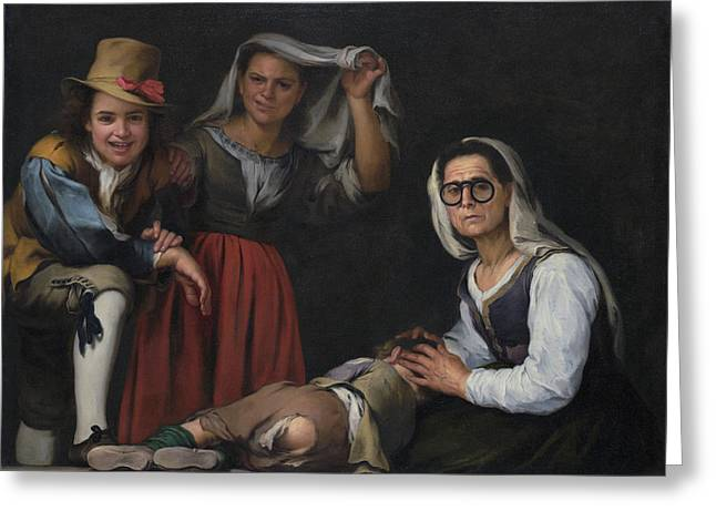 Four Figures On A Step Greeting Card by Bartolome Esteban Murillo