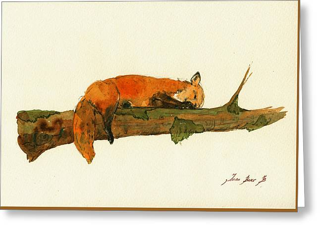 Fox Sleeping Painting Greeting Card