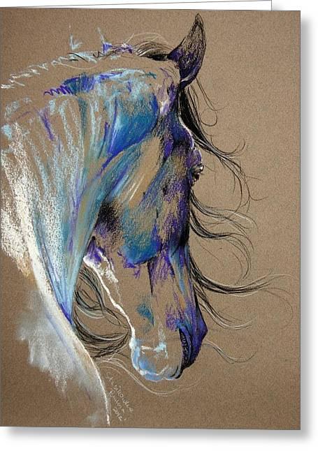Fresian Horse Greeting Card by Paulina Stasikowska