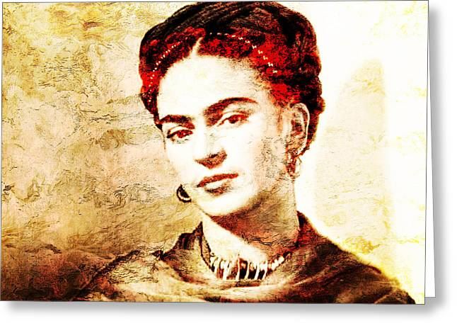 Frida Greeting Card by J- J- Espinoza
