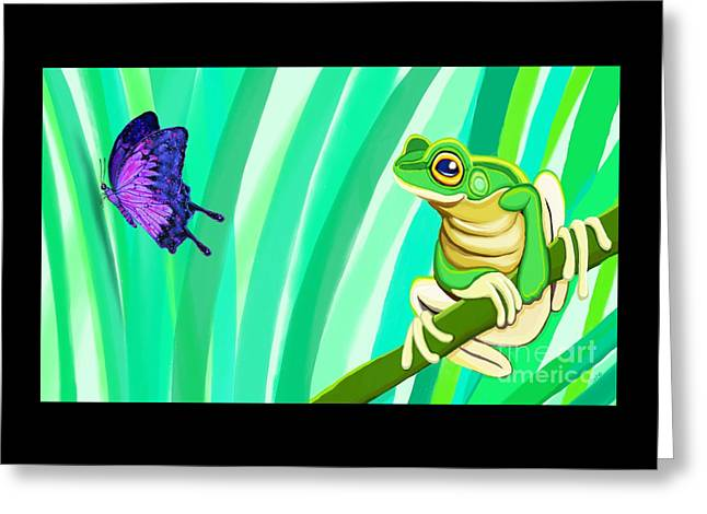 Frog And Butterfly Greeting Card by Nick Gustafson
