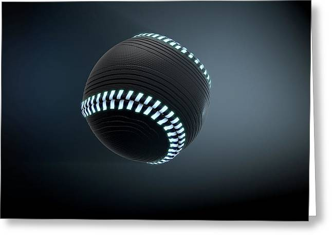 Futuristic Neon Sports Ball Greeting Card by Allan Swart