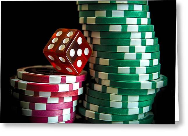 Gambling Chip. Greeting Card by Bernard Jaubert