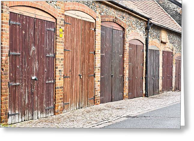 Garage Doors Greeting Card by Tom Gowanlock