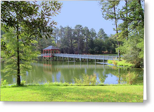 Greeting Card featuring the photograph Gazebo On The Lake by Diane Ferguson