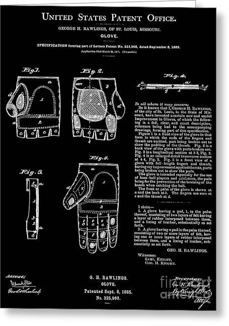 George Rawlings 1885 Baseball Glove Patent 325968 Greeting Card