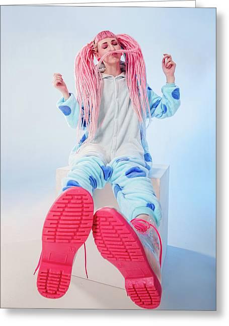 Girl In Pajamas Greeting Card by Evgeniia Litovchenko