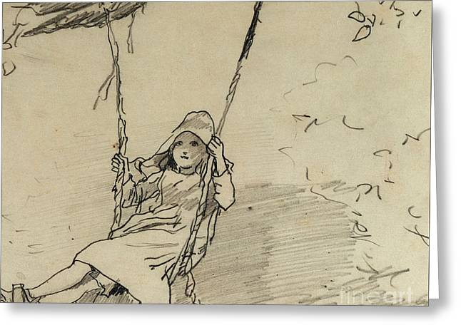 Girl On A Swing Greeting Card