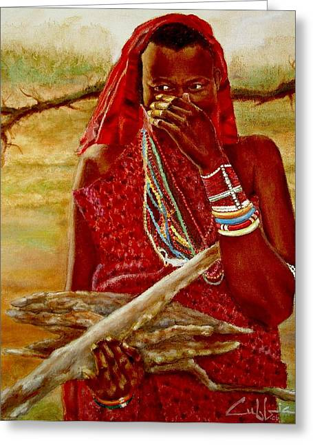 Girl With Sticks Greeting Card