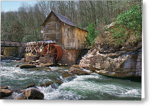 Glade Creek Grist Mill Greeting Card by Mary Almond